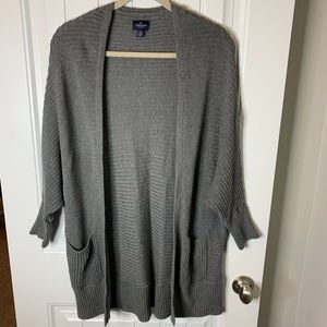 American Eagle cardigan open front gray size med
